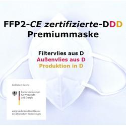 100 x FFP2 Atemschutzmaske EN149:2001 CE 2233 - ohne GERUCH - ohne Chemie - EU2016/425 - Made in Germany - DDD