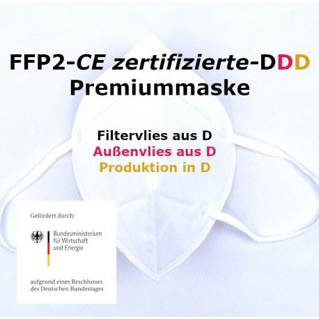 100 x Premium FFP2 EN149:2001+A1:2009 EU2016/42 CE 2233 mit europäischer Zertifizierung - priuMask DDD