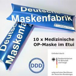 10 x Medizinische OP-Maske im Etui, EN 14683:2019 - BFE 99% - CureProtect Classic Typ IIR / DDD