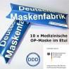 10 x Medizinische OP-Maske im Etui, EN 14683:2019 - BFE 99% - CureProtect Classic Typ IIR / DDD - Masken aus Deutschland
