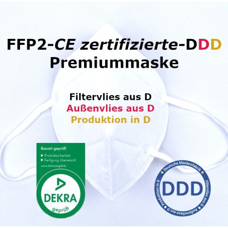 10 x Premium FFP2 EN149:2001+A1:2009 EU2016/42 CE 0158 DEKRA - facMask DDD