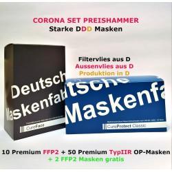 Corona Set 10 FFP2 +2 gratis + 50 OP Masken im Set