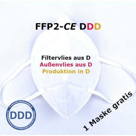 5+1gratis - FFP2 Maske EN149:2001 DEKRA CE 0158 - ohne GERUCH - ohne Chemie - Masken aus Deutschland - Made in Germany - DDD