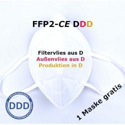 5+1gratis - FFP2 Maske EN149:2001 CE 2233 - ohne Chemie - Masken aus Deutschland - DDD
