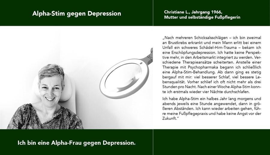 Christiane Alpha-Stim gegen Schmerzen